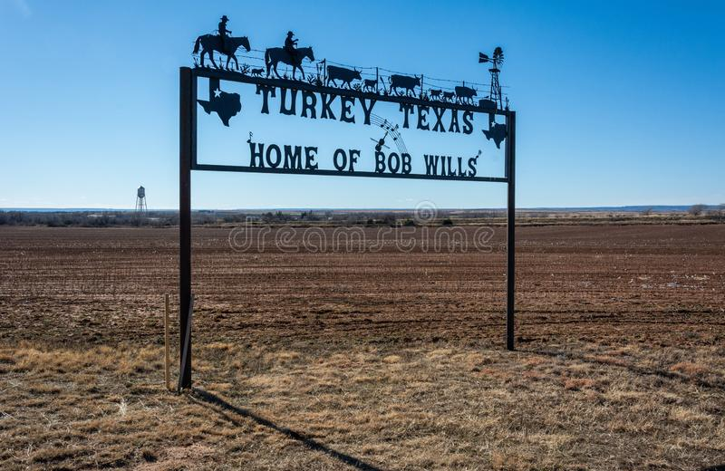 Turkey, Texas welcome sign. Turkey, Texas, United States of America - January 1, 2017. Turkey, Texas welcome sign along the road passing through Turkey, TX royalty free stock photography
