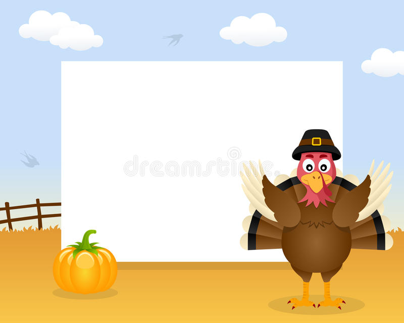 Turkey Thanksgiving Horizontal Frame. A Happy Thanksgiving Day horizontal photo frame with a cute turkey character and a pumpkin in a countryside scene stock illustration