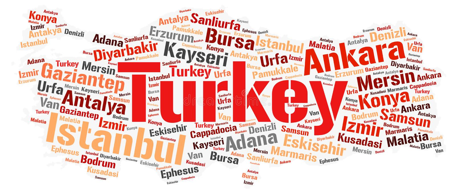Turkey top travel destinations word cloud. Turkey map silhouette word cloud with most popular travel destinations royalty free illustration