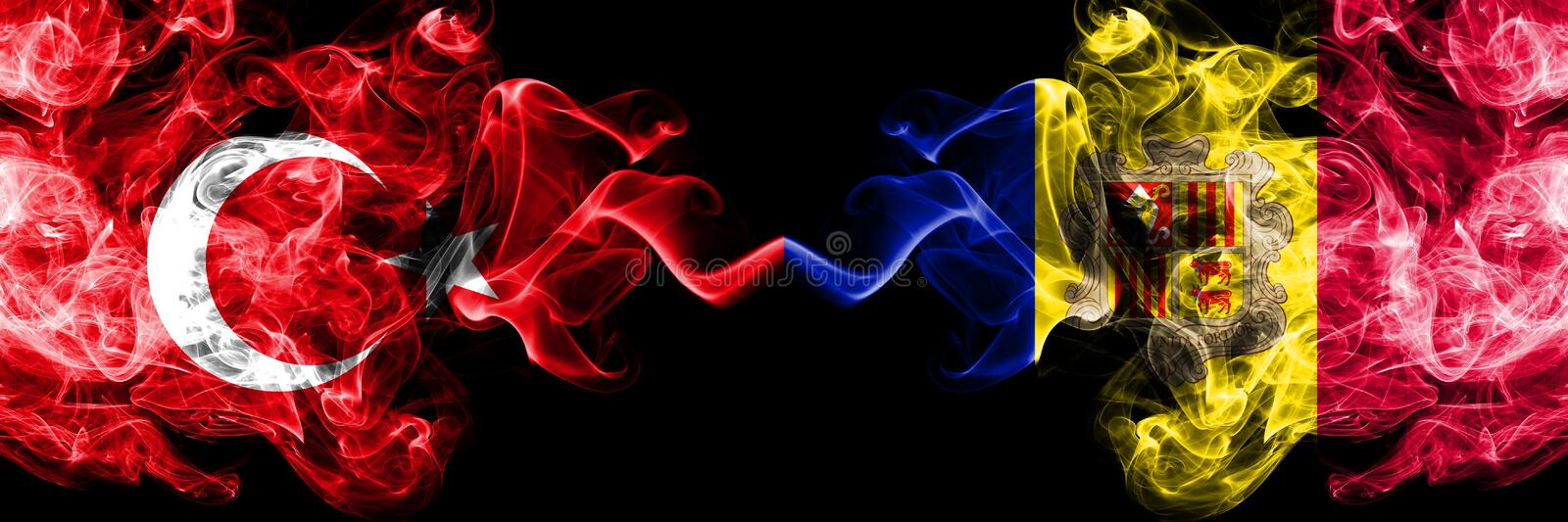 Turkey, Turkish, Andorra, Andorran competition thick colorful smoky flags. European football qualifications games. Turkey Turkish, Andorra, Andorran competition stock image