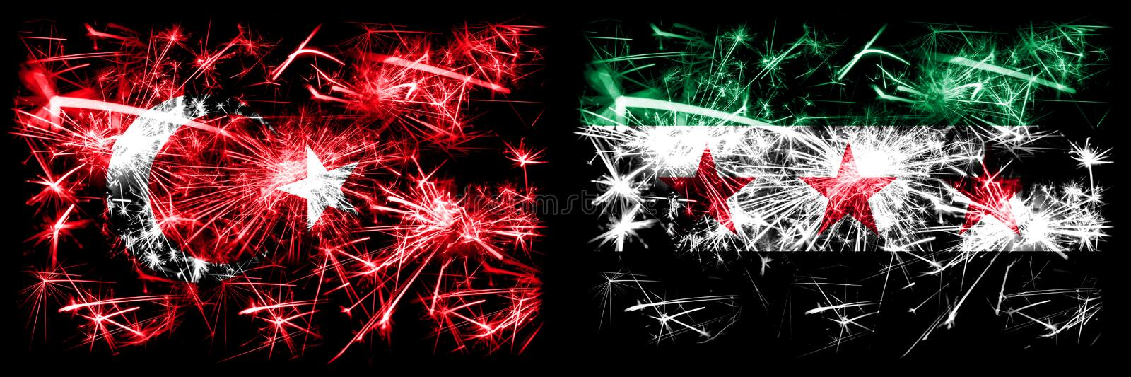 Turkey, Turkish vs Syria, Syrian Arab Republic, three stars, observed New Year celebration sparkling fireworks flags concept. Background. Combination of two stock illustration