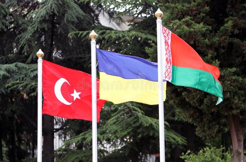 Turkey, Ukraine, Belarus flags royalty free stock photo