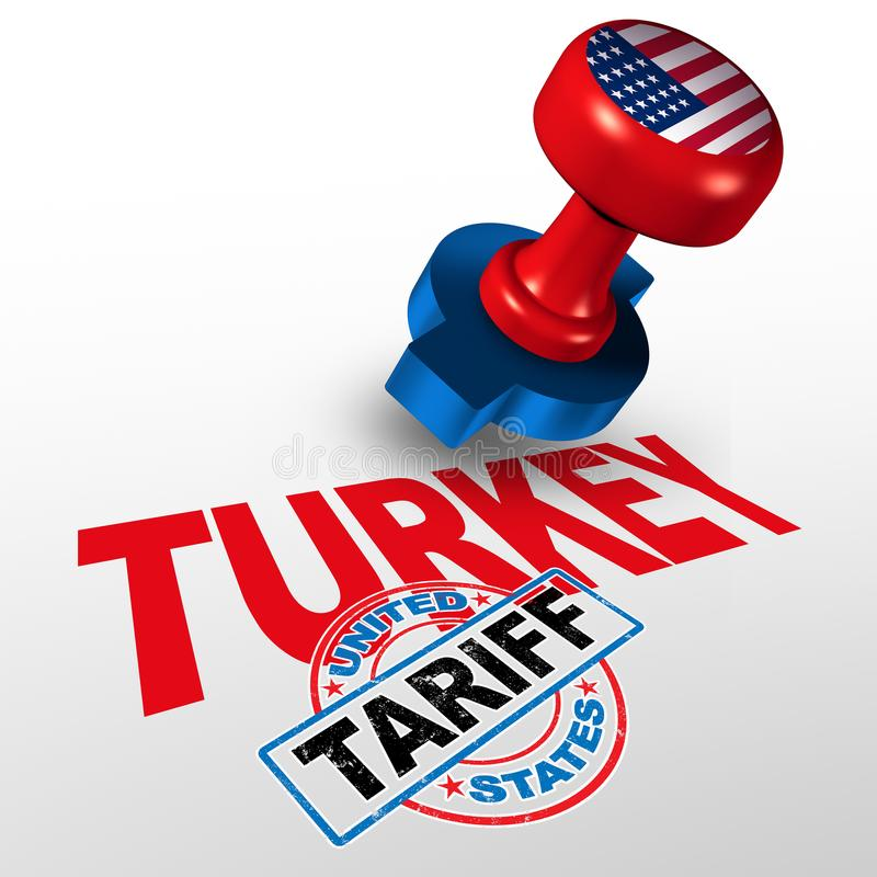 Turkey United States Tariff. On Turkish steel and aluminum tariffs as a stamp on text as an economic trade taxation dispute over import and exports concept with stock illustration