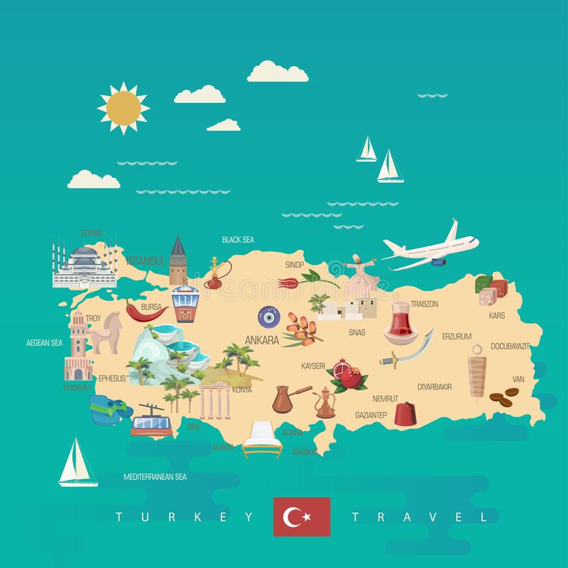Download Turkey Vector Vacations Illustration With Turkish Landmarks And Map Travel Agency Poster Flat