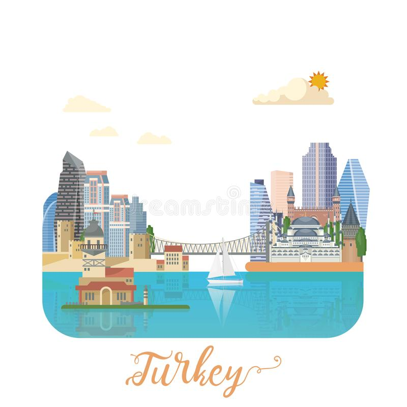Turkey vector vacations illustration with turkish landmarks. Travel agency poster. royalty free illustration