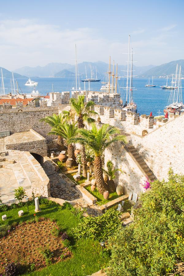 Turkey: view of the castle in Marmaris. Marmaris Castle is a popular tourist attraction in Turkey royalty free stock images