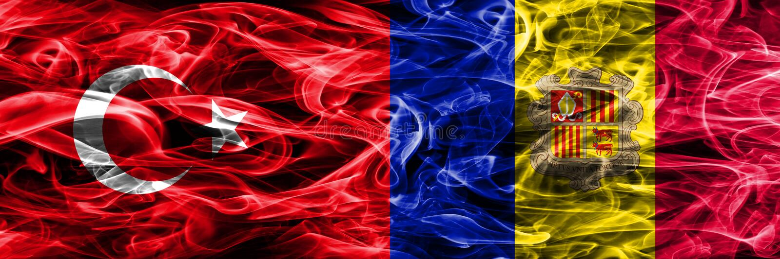 Turkey vs Andorra smoke flags placed side by side. Turkish and Andorra flag together.  royalty free illustration