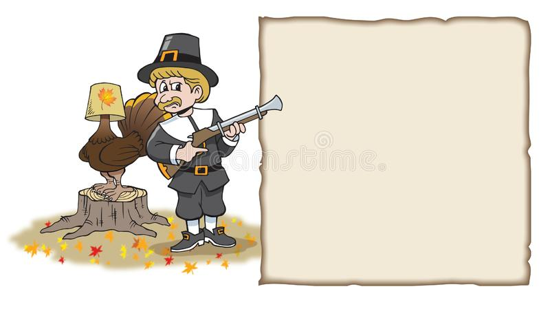 Custom Made T Shirt Happy Thanksgiving Pilgrim Boy Gun Musket Turkey Hiding Tree