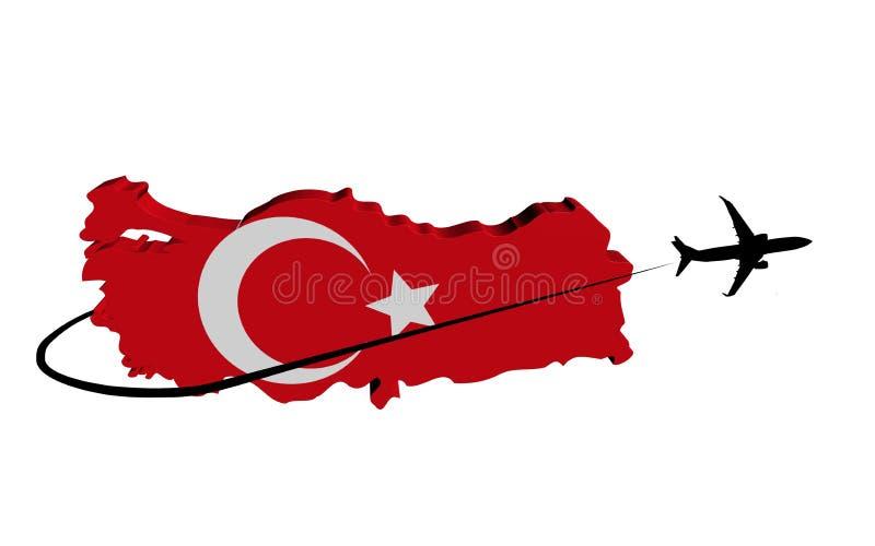 Turkiet översiktsflagga med nivå- och swooshillustrationen royaltyfri illustrationer