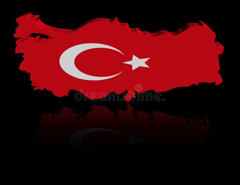 Turkiet översiktsflagga med reflexionsillustrationen vektor illustrationer