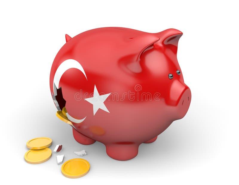 Turkiet ekonomi och finansbegrepp för armod och statsskuld royaltyfri illustrationer