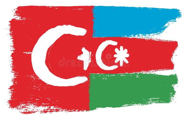 Turkiet flagga & hand för Azerbajdzjan flaggavektor som målas med den rundade borsten royaltyfri illustrationer