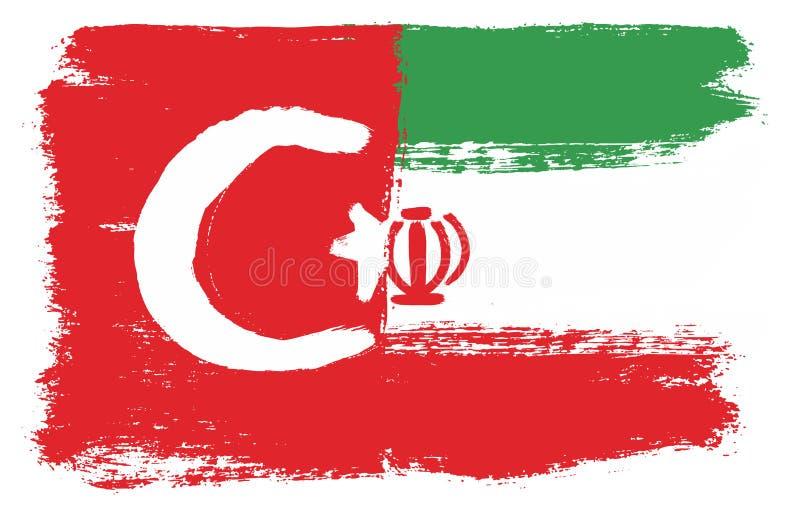 Turkiet flagga & hand för Iran flaggavektor som målas med den rundade borsten stock illustrationer