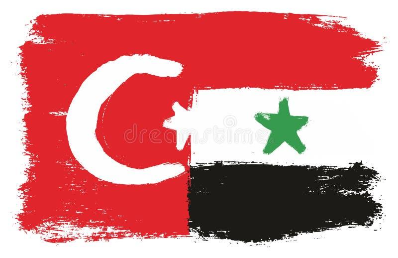 Turkiet flagga & hand för Syrien flaggavektor som målas med den rundade borsten vektor illustrationer