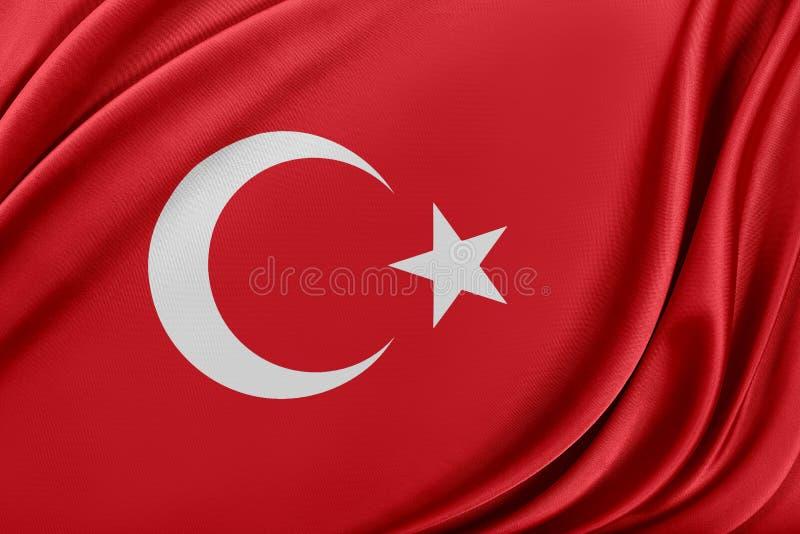 Turkiet flagga med en glansig siden- textur vektor illustrationer