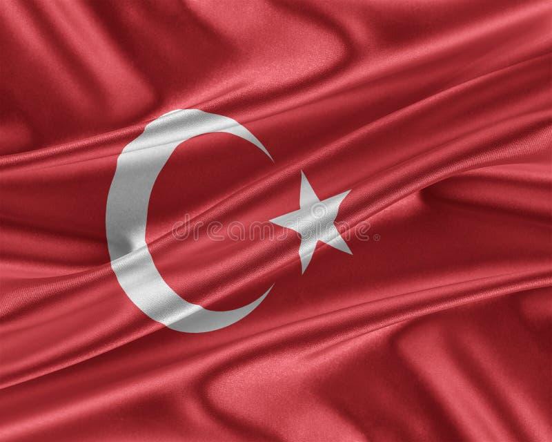 Turkiet flagga med en glansig siden- textur royaltyfri illustrationer