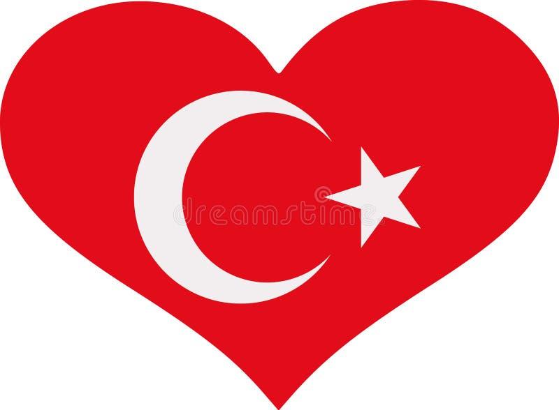 Turkiet flaggahjärta royaltyfri illustrationer