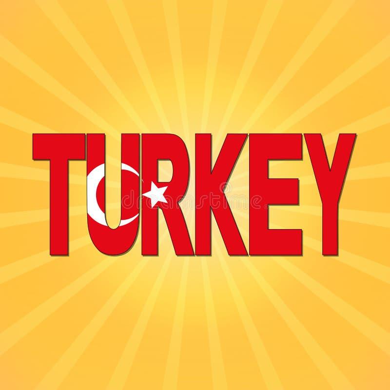 Turkiet flaggatext med sunburstillustrationen stock illustrationer
