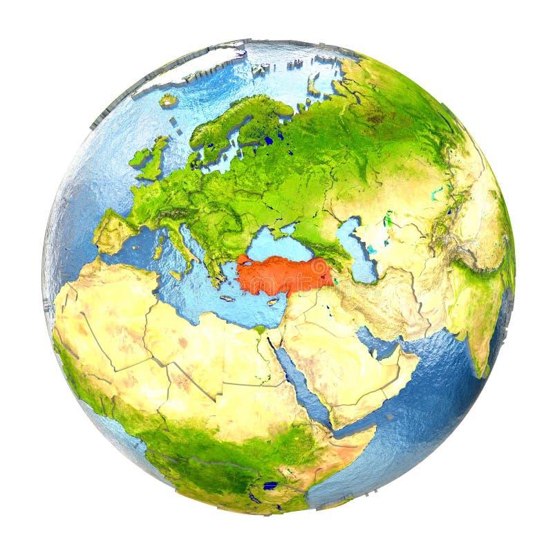 Turkiet i rött på full jord royaltyfri illustrationer