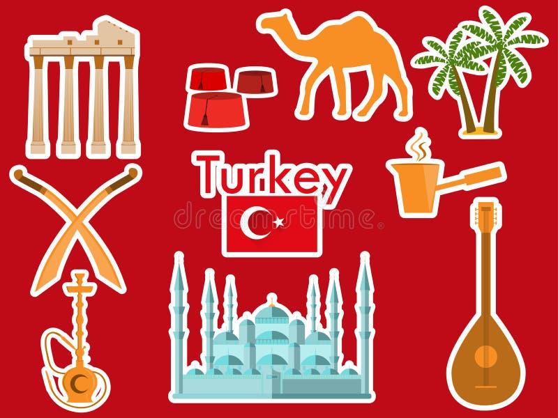 Turkiet klistermärkear Turkiska symboler: Den blåa moskén, marknadsplatsen, den turkiska hatten, shisha, kamel, kroksabel, gitarr royaltyfri illustrationer