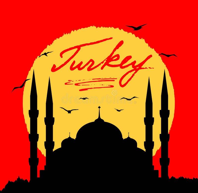 Turkiet moskékontur i solljuset med bokstäver vektor illustrationer