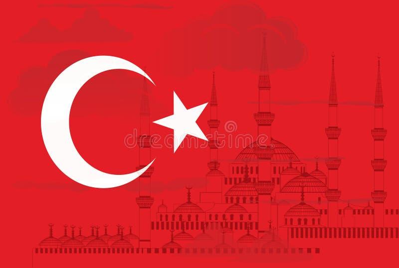 Turkiet symbol med den blåa moskévektorn royaltyfri illustrationer
