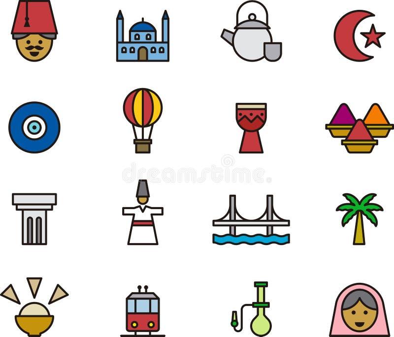 Turkiet symbolsuppsättning vektor illustrationer
