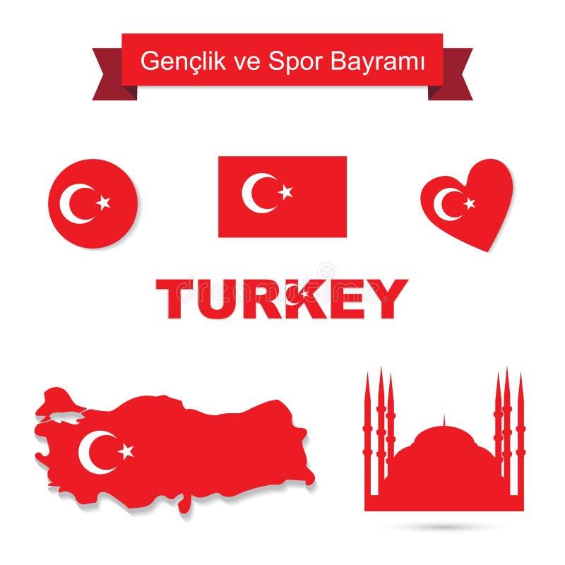 Turkiet vektoruppsättning stock illustrationer