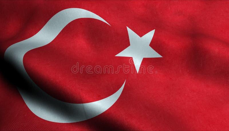 Turkiet vinkande flagga i 3D stock illustrationer