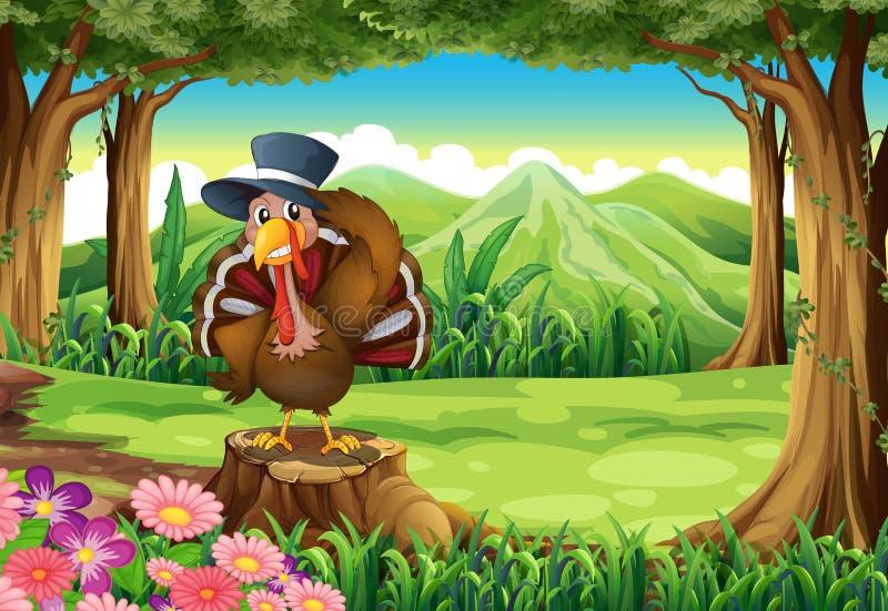 Turkije bij het bos die zich boven de stomp bevinden royalty-vrije illustratie