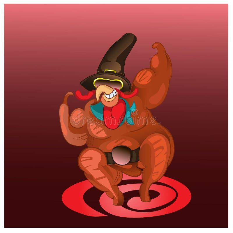 Turkije-haan - de kampioen die voor Thanksgiving day zal eten royalty-vrije illustratie