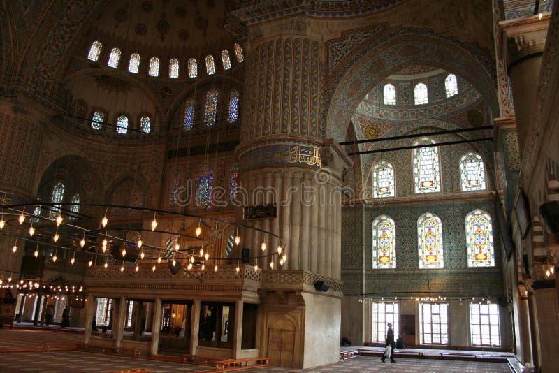 Turkije. Istanboel. Binnen van de Blauwe moskee royalty-vrije stock foto