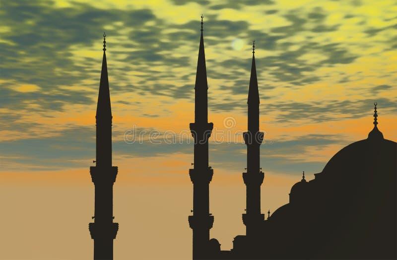 Turkije, Istanboel, Blauwe Moskee stock illustratie