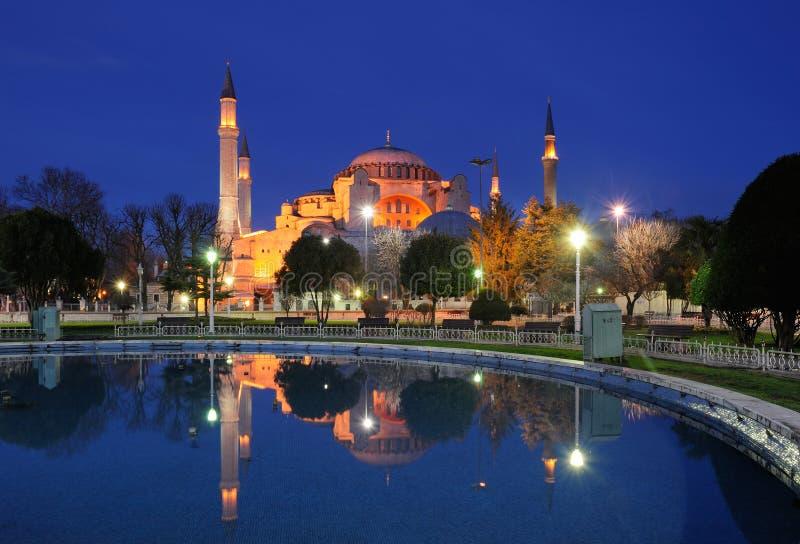 Turkije. Istanboel. Hagia (Aya) Sophia bij nacht royalty-vrije stock afbeeldingen
