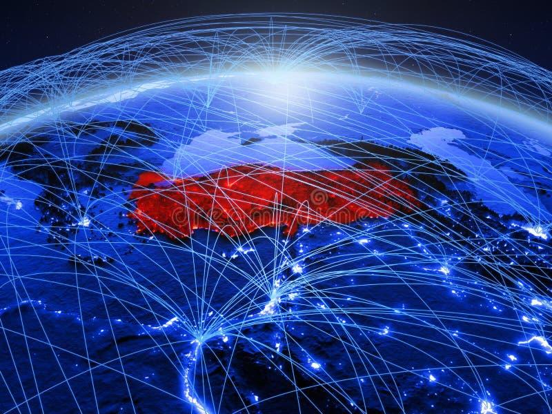 Turkije op blauwe digitale aarde met internationaal netwerk die mededeling, reis en verbindingen vertegenwoordigen 3D Illustratie royalty-vrije stock fotografie