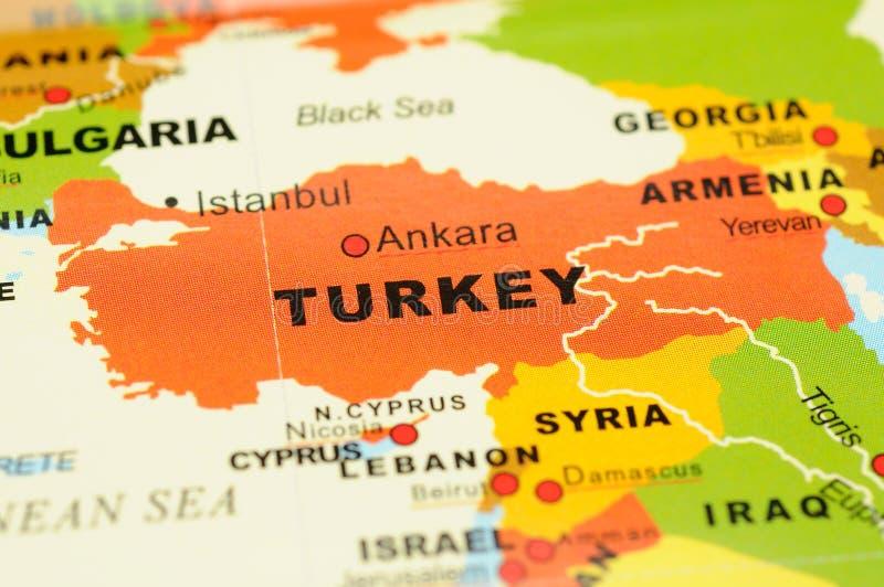 Turkije op kaart stock foto