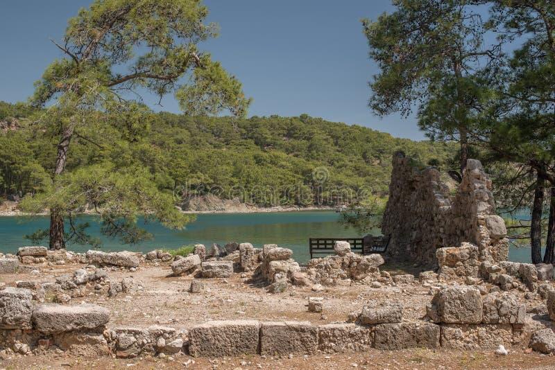 Turkije: ruïnes in oude stad Phaselis royalty-vrije stock afbeeldingen