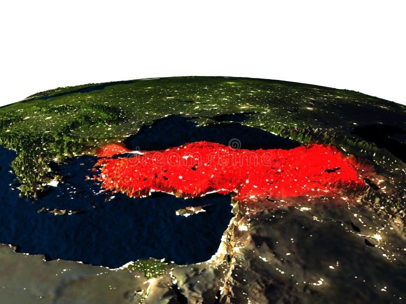 Turkije van ruimte bij nacht vector illustratie