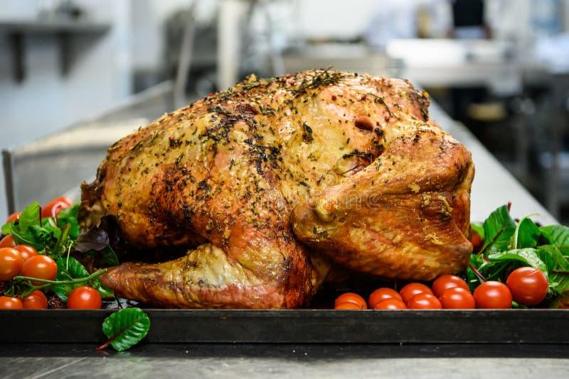 Turkije Voedsel Geroosterd Turkije in pan royalty-vrije stock afbeelding