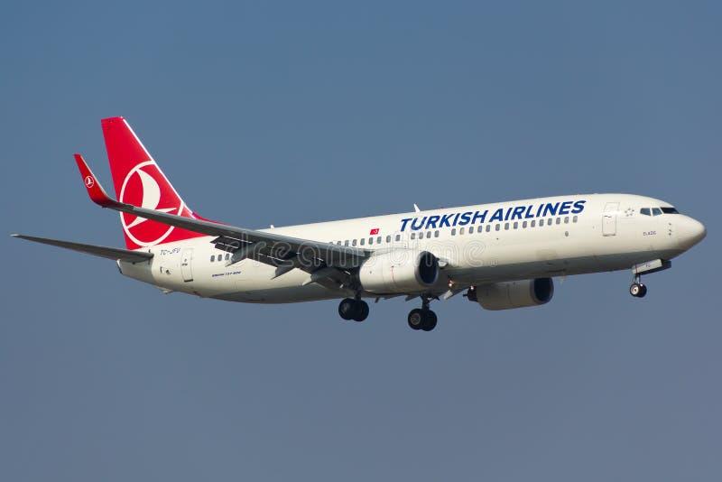 Turkish Airlines Боинг 737-800 стоковое изображение rf