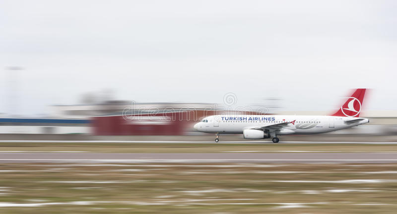 Turkish Airlines airplane on runway stock photography
