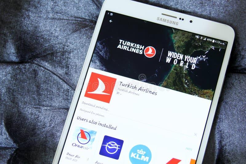 Turkish Airlines app logo på Google lek royaltyfria bilder