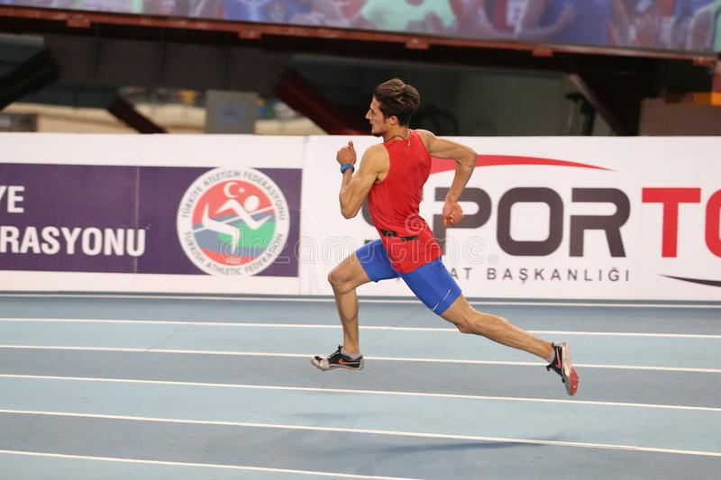 Turkish Athletic Federation Indoor Athletics Record Attempt Race stock image