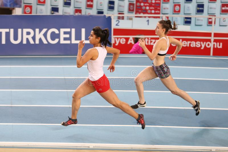 Turkish Athletic Federation Olympic Threshold Indoor Competition stock photos