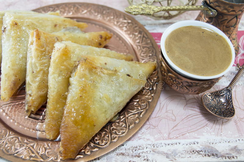 Turkish baklava and coffee stock images