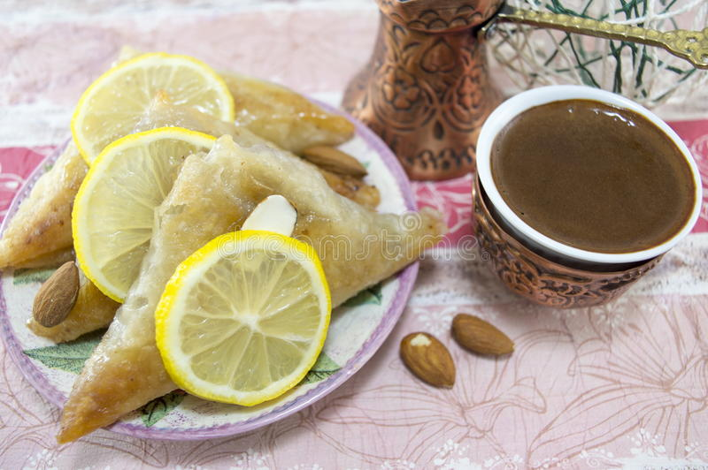 Turkish baklava and coffee stock photography