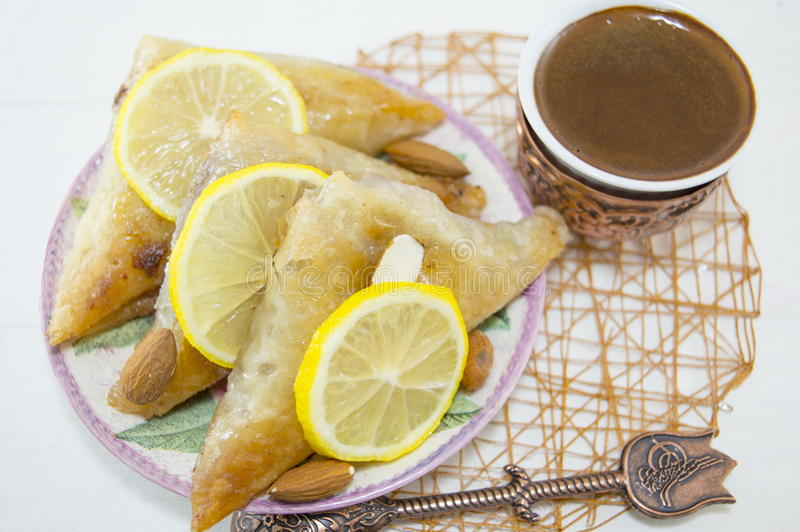 Turkish baklava and coffee royalty free stock images