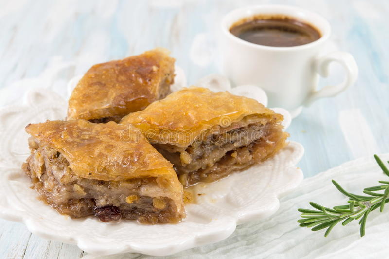 Turkish baklava dessert and coffee on a plate stock photo