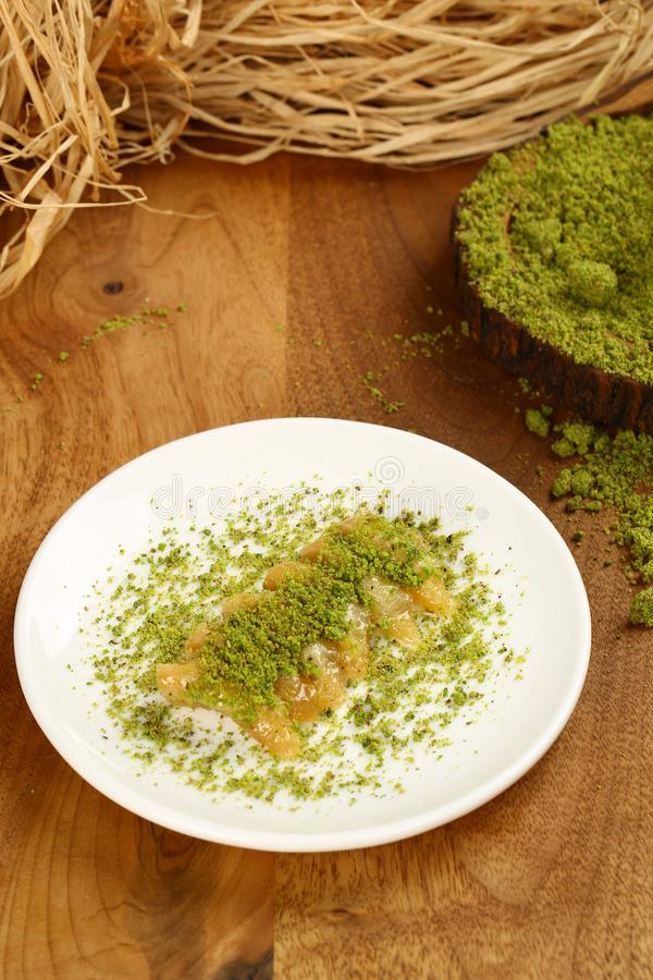 Baklava. Turkish baklava on the plate royalty free stock photos