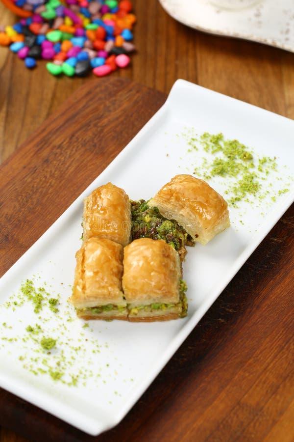 Baklava. Turkish baklava on the plate stock photo
